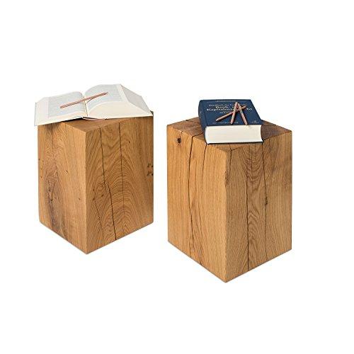 GREENHAUS Holzblock Eiche Massiv 30x30x45 cm Handarbeit und Massivholz aus Deutschland Holzklotz Hocker Beistelltisch