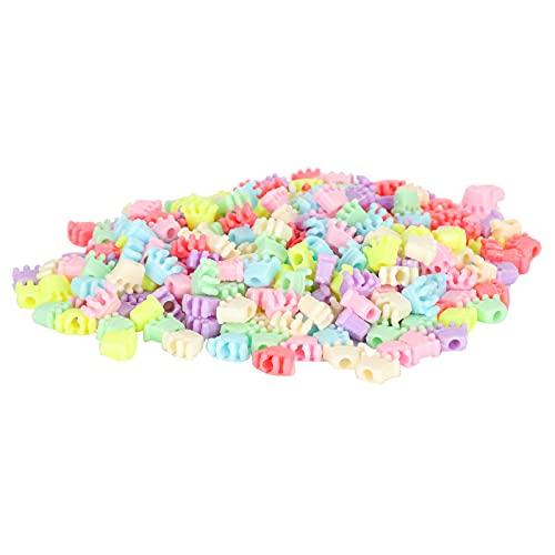 SONK Cuentas de plástico, Cuentas de plástico para Hacer Joyas, Cuentas de Corona de plástico Reutilizables, 300 Piezas, Coloridas para Pulseras para Collar, joyería para Bricolaje