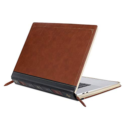 MOSISO MacBook Pro 16 inch Case 2019 Release A2141 with Touch Bar & Touch ID, PU Leather Laptop Sleeve Vintage Retro Zippered Book Folio Protective Cover Compatible with MacBook Pro 16 inch, Brown
