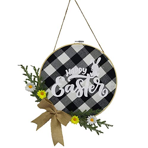 WDFVGEE Happy Easter Bunny Hanging Pendant Flower Wreath Ornament Door Plaque Decoration Holiday celebration wall decoration