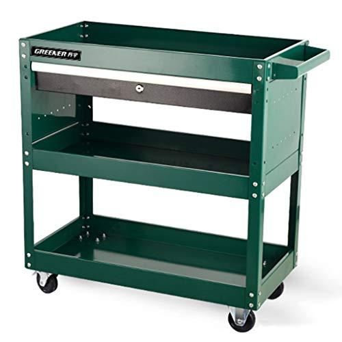 ZAQI Werkstattwagen mit Schublade und Feststellrädern, kompakter großer mobiler Wirtschaftsschrank, Traglast 300 kg (Color : Green, Size : 70×35×76cm)