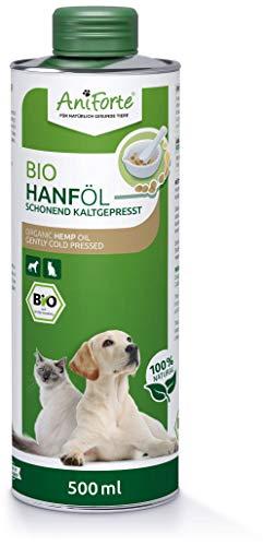 AniForte Huile de Chanvre Biologique pressée à Froid pour Chiens et Chevaux 500 ml - 100% d'huile de Chanvre Pure comme additif, Huile de Chanvre de première qualité, Emballage Recyclable sans BPA