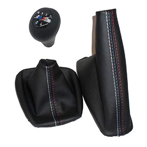Pomo de palanca de cambio manual de 5 velocidades y 6 velocidades con funda de cuero auténtico para freno de mano, ajuste para BMW Serie 3 E36 E46 M3 (5S M y cuero)
