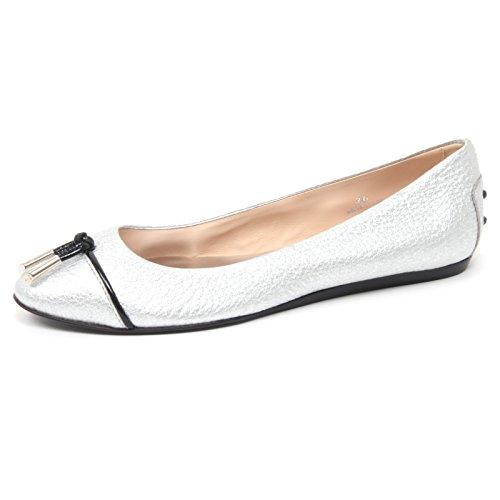 Tod's B4457 Ballerina Donna Scarpa Laccetto Argento Shoe Woman [36]