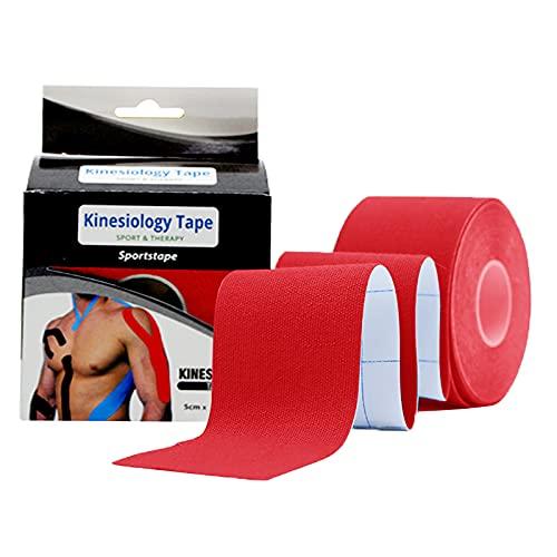 TAKUZA Kinesiotapes (5m*5cm Rolle) Hautfreundlich Kinesio Tapes für den Sport, Wasserfestes & Elastisches Kinesiologie Tape, für Knie, Schulter und Ellenbogen, Muskelstraffende Bänder-rot