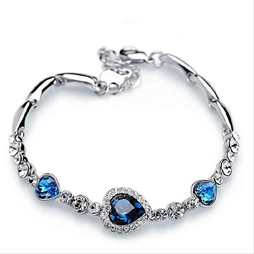 kokokwad Modeschmuck Silber Kristall Herz Charm-Armbänder & Armreifen Pulseiras Blau Strass Armbänder für Frauen