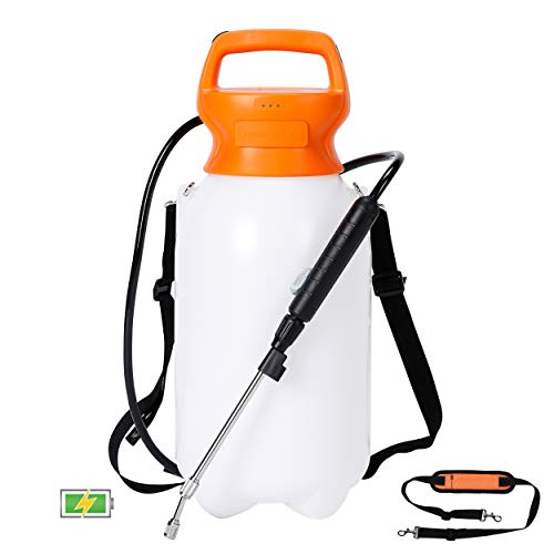 BIRDROCK HOME 2-Gallon Garden Sprayer with Battery Powered Pump - Shoulder Strap - Spray Water, Weed Killers, Fertilizers, and Insecticides - Stainless Steel Wand - White Translucent Body