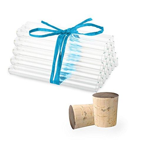 25 x Éprouvettes en verre de laboratoire avec des bouchons en liège naturel | Tubes à essai | Paroi épaisse ✓ (160 x Ø16 mm)