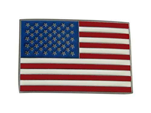 Gürtelschnalle , locken Platte Gürtel Muster Flagge Amerikanische USA Stahl emailliert