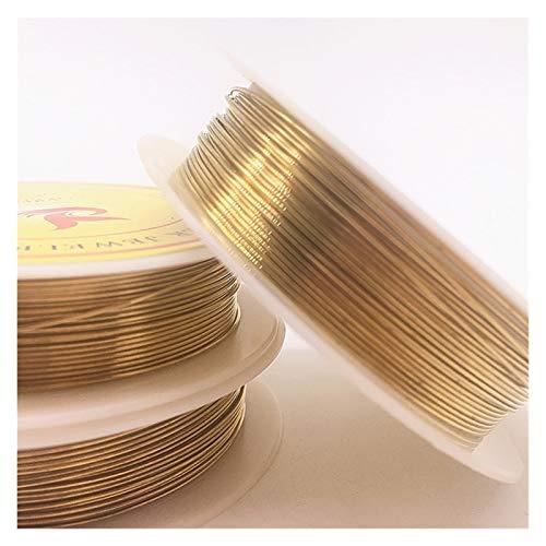 ZIJ Alambre de Abalorios 0.2/0.3/0.4/0.5/0.6/0.7/0.8/1,0 mm Cables de Cobre de latón para joyería Hacer Colores de Oro (Color : Oro, Talla : 1.0mm(1.7m))