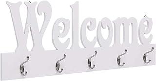 vidaXL Appendiabiti a Muro Home Elegante Robusto Moderno Decorativo con Ganci Attaccapanni da Parete Arredo Ingresso 50x23 cm Bianco in MDF
