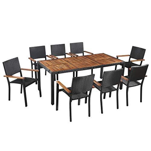 Fesjoy Set da Pranzo del Patio Mobili da Giardino per Esterni 8 posti con Tavolo in Legno Tavolo da Pranzo del Patio della Cucina Sedia in Rattan Set di mobili da Giardino