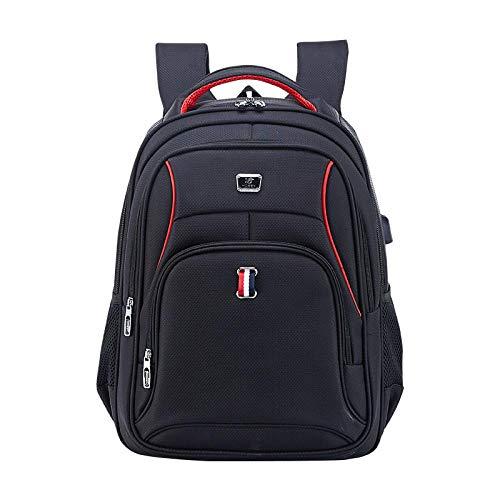 Zaino Zaini di Ricarica USB per Uomini d'Affari Donne Borse da Scuola Impermeabili Nere Viaggio da Uomo Casual Grande capacità 15 Pollici Laptop Teens Nero