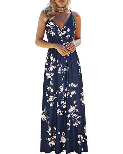 OUGES Maxikleid für Damen, Sommer, tiefer V-Ausschnitt, Blumenmuster, verstellbar, Spaghetti-Träger -  -  Mittel