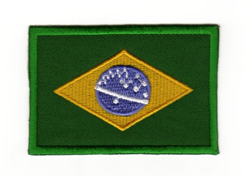 Aufnäher Bügelbild Aufbügler Iron on Patches Applikation Flagge Brasilien Brazil
