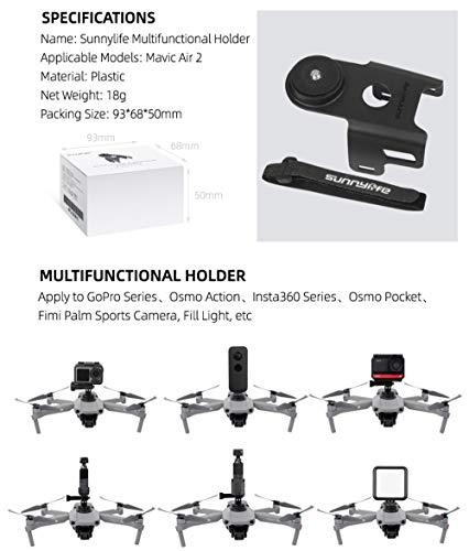 DJFEI Kamera Adapter Halter Halterung Kit für DJI Mavic Air 2, Multifunktions Kamera Halter Stabilisatoren Halter Kamera Licht Halterung 1/4 Adapter für DJI Mavic Air 2 Drone