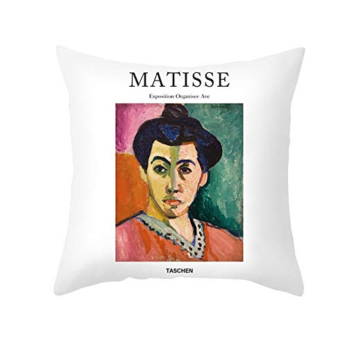 PPMP Matisse Aceite Funda de cojín Pintura al óleo sofá Funda de Almohada decoración del hogar Funda de cojín Decorativa Funda de Almohada abrazadora A10 45x45 cm 2pcs