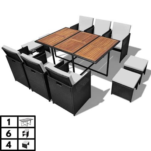 Luxurygarden - Juego de mesa y sillas de jardín de ratán - Juego de comedor de exterior: 6 sillas y 4 taburetes negros - Muebles de jardín plegables - 10 plazas