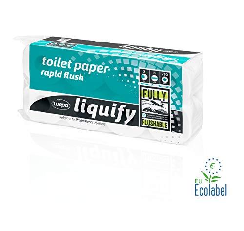 Wepa Liquify Camping Toilettenpapier Selbstauflösend 2-lagig - 8 Rollen á 250 Blatt - Für Camping, Flugzeuge, Kreuzfahrtschiffe, Züge - EU Ecolabel