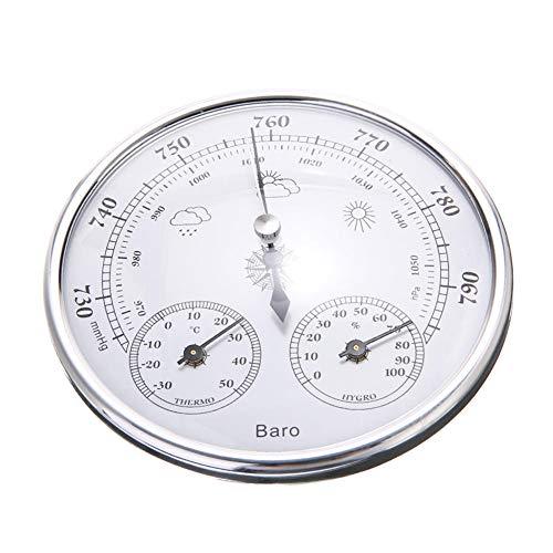 POMNEFE Barómetro, Barómetro doméstico, Barómetro tres en uno, Termómetro, Higrómetro, Barómetro aneroide, Barómetro montado en la pared