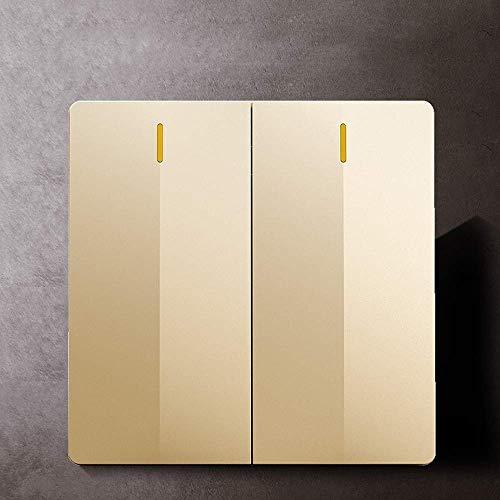 GAXQFEI Placas de interruptor de panel grande sin marco 86 Tipo Embedded Wall Interruptor de pared Lámpara de accesorio soltero o doble Control 1way, controlador de interruptor 2way con luz indicador