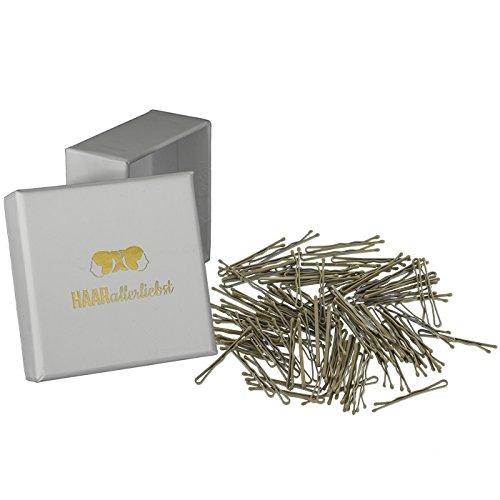 HAARallerliebst Haarklammern klein Bobby Pins mini (100 Stück   beige   3,4cm kurz) für blonde Haare inkl. Schachtel zur Aufbewahrung (Schachtelfarbe: weiss)