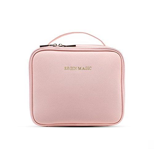 Begin Magic, piccola borsetta per trucco, Professionale, trousse da viaggio con scomparti regolabili e tracolla, borsa trucco rosa