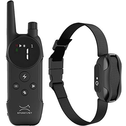 SPUNKY.PET - Collier de Dressage pour Chien - 3 Modes d'Éducation: Stimulation Sonore, Vibrations et Électrique - Portée 500 mètres - Rechargeable (SP101-3)