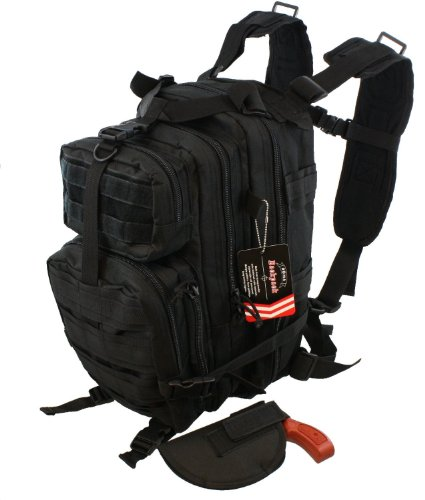 Waterproof Concealed Carry Tactical Assault Molle Backpack w/ Holster Every Day Carry