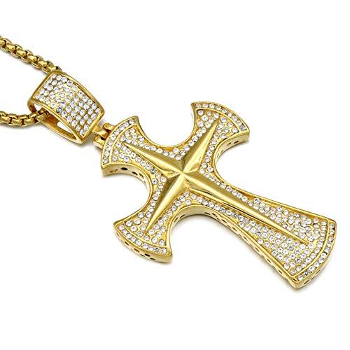 BAJIE Herren Anhänger Halskette Ice Out Micropavé Voll Strass Golden Edelstahl Axt Christian Cross Anhänger und Herren Schmuck Halskette