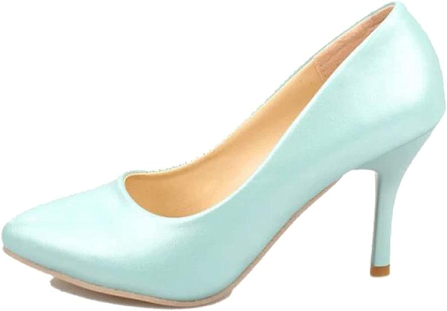 Sam Carle Women's Pump,Simple Slip-on High Heel Pink Green Pointed-Toe Business shoes