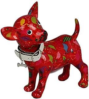 POMME-PIDOU skarbonka Pippa | Oryginalny pies chihuahua skarbonka w ceramice | Czerwone pudełko na pomysł flamingi