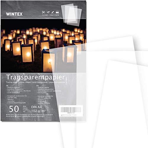 WINTEX A4 Transparentpapier 50 Blatt, 102g/qm, weißes Bastelpapier