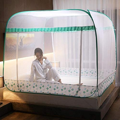 Xiaoer 1.5x1.9 Domestic Fixed 1.8m Mega Thick Hooks Yurt Free Installation 1.5m Bed Nets Home,Smart - Green,1.2m (4 Feet) Bed