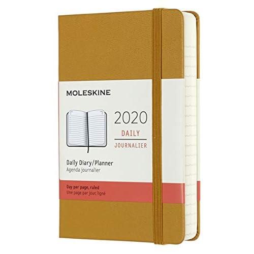 (modello precedente) - Moleskine 12 Mesi, anno 2020 Agenda Giornaliera, Copertina Rigida e Chiusura ad Elastico, Colore Giallo Maturo, Dimensione Pocket 9 x 14 cm, 400 Pagine