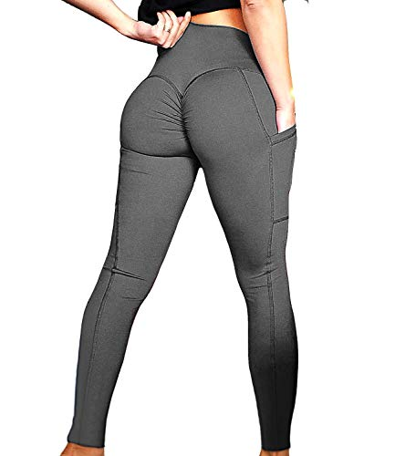 FITTOO Womens Scrunch Yoga Pants Sport Workout Leggings High Waist Tight Side Pocket Grey(S)
