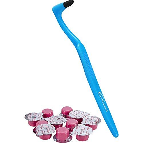 Zahnpolier-Set: wellsamed Zahnbürste Stain Remover Zahnsteinentferner Zahnpolierer 1 Stück WSR019, 10 x 2 g Profi Zahnpolierpaste