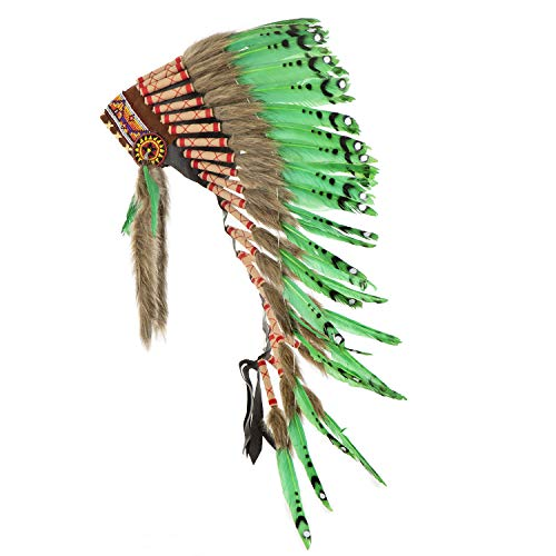 Pink Pineapple Tocado Hecho a Mano Inspirado en los Nativos Americanos: Equipo de Plumas Genuino de Niños y Adultos para Festivales - Medio - Verde Lima