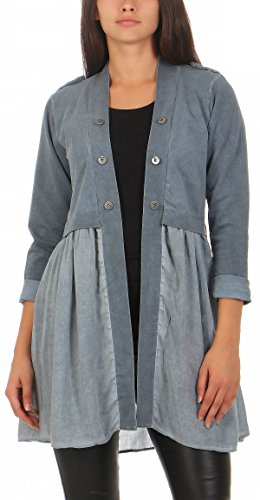 Malito Damen Blazer lang Kleid | Sakko im Washed Look | Kurzjacke mit Knöpfe | Jacke - Jackett - Blouson 8036 (blau, XL)