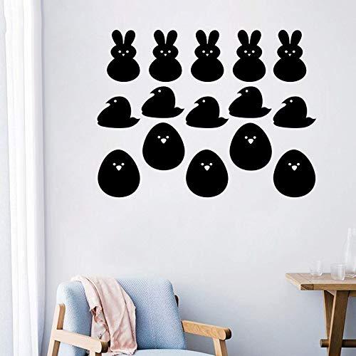 Adesivo murale Adesivo di protezione ambientale con conigli di uova di Pasqua Smontabile Soggiorno Camera da letto Camera dei bambini Adesivi ambientali 58 * 68.5Cm