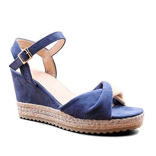 Angkorly - Chaussure Mode Sandale Espadrille Bohème Chic Glamour Femme Noeud lanière Boucle Talon Compensé 9 CM - Bleu - BL298 T 37