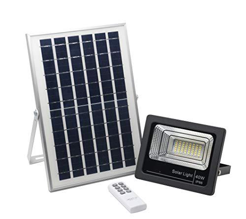 Foco Solar Led 40W, Panel Solar, Batería, Mando a Distancia, Luz Exterior Autonomía 8-15 Horas, Blanco - Neutro 4000K