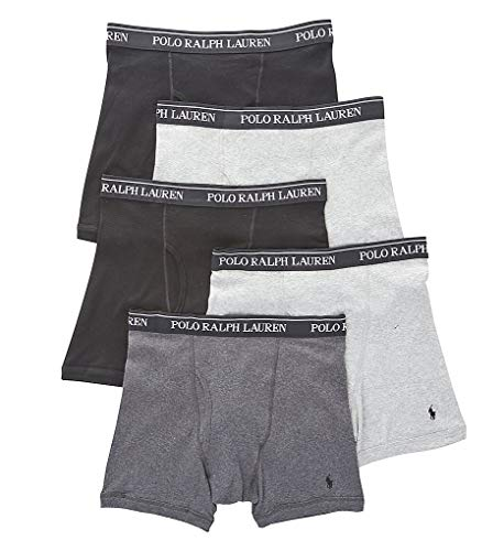 POLO RALPH LAUREN Classic Fit w/Wicking 5-Pack Boxer Briefs 2 Andover/1 Madison/2 Black SM