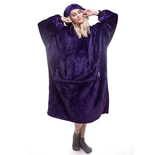 Daverose Lengthened Wearable Blanket Oversized Hooded Sweatshirt Blanket for Adults and Elderly, Super Warm and Cozy Hoody Blanket, Fleece Blanket with Sleeves and Giant Pocket (Blue)