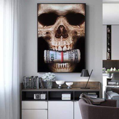 wZUN Pintura de la decoración de la Sala de Estar del Pintor del núcleo de la Pintura al óleo del cráneo 60x90 Sin Marco