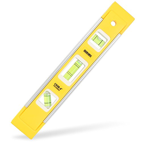DOWELL 9 Inch Magnetic Box Level Torpedo Level,3 Different Bubbles/45°/90°/180°Measuring Shock Resistant Torpedo Level