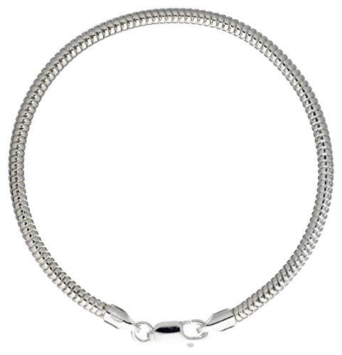 DUR Damen Schlangenarmband dick 3 mm ca. 20 cm 925er Silber aus 925er Silber A1134.20, 20