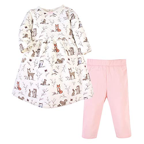 Hudson Baby Girls' Quilted Cotton Dress and Leggings, Enchanted Forest, 12-18 Months