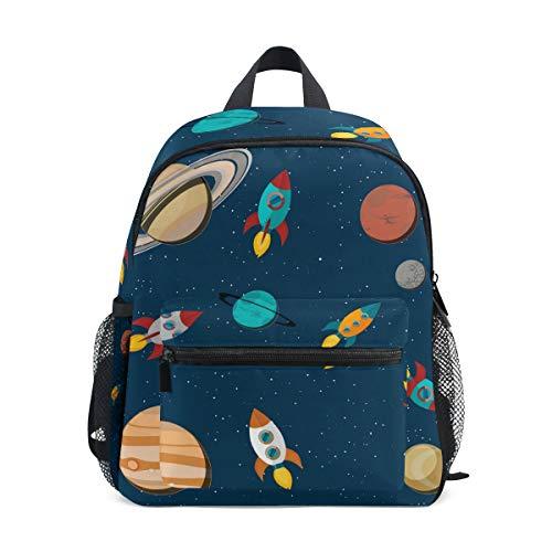 ALINLO Schulranzen Weltraum Planet Rakete Sterne Muster Vorschulrucksäcke Kinder Reise Daypack für Jungen Mädchen