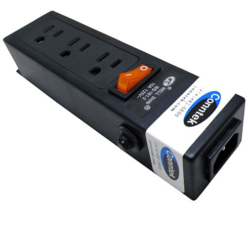 Conntek Power Strip 125V 7-1/2-Inch Housing IEC C14 to U.S 3 Prong Power Strip 3 Outlets with AC Adapter Space